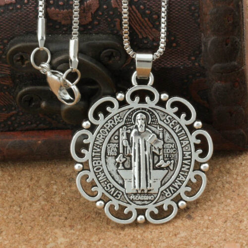 """Silver Saint St Benedict Protection Medal Ornate Pendant Necklace 24"""" Box Chain"""