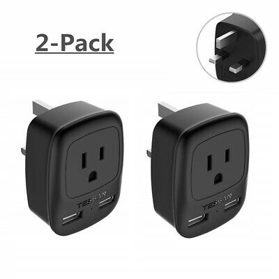 USA to UK Ireland Travel Power Plug Adapter with 1 Outlet & 2 USB Ports - 2 - Ireland Power Outlet