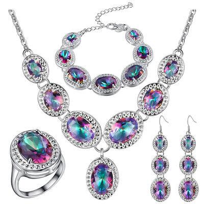 Wedding Set Rainbow Mystic Topaz Gems Silver Necklace Bracelet Earrings Rings Bridal Ring Set Gems