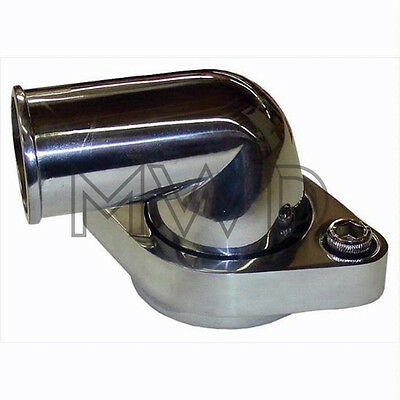 SBC BBC Chevy Polished Aluminum Swivel Thermostat Housing Water Neck 90 Degree