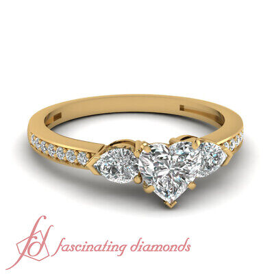 1.25 Ct 3 Stone Heart Shape Diamond Engagement Ring in Yellow Gold For Women GIA
