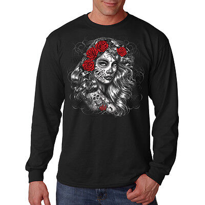 Day Of The Dead Girl Roses Sugar Skull Face Paint Long Sleeve T-Shirt