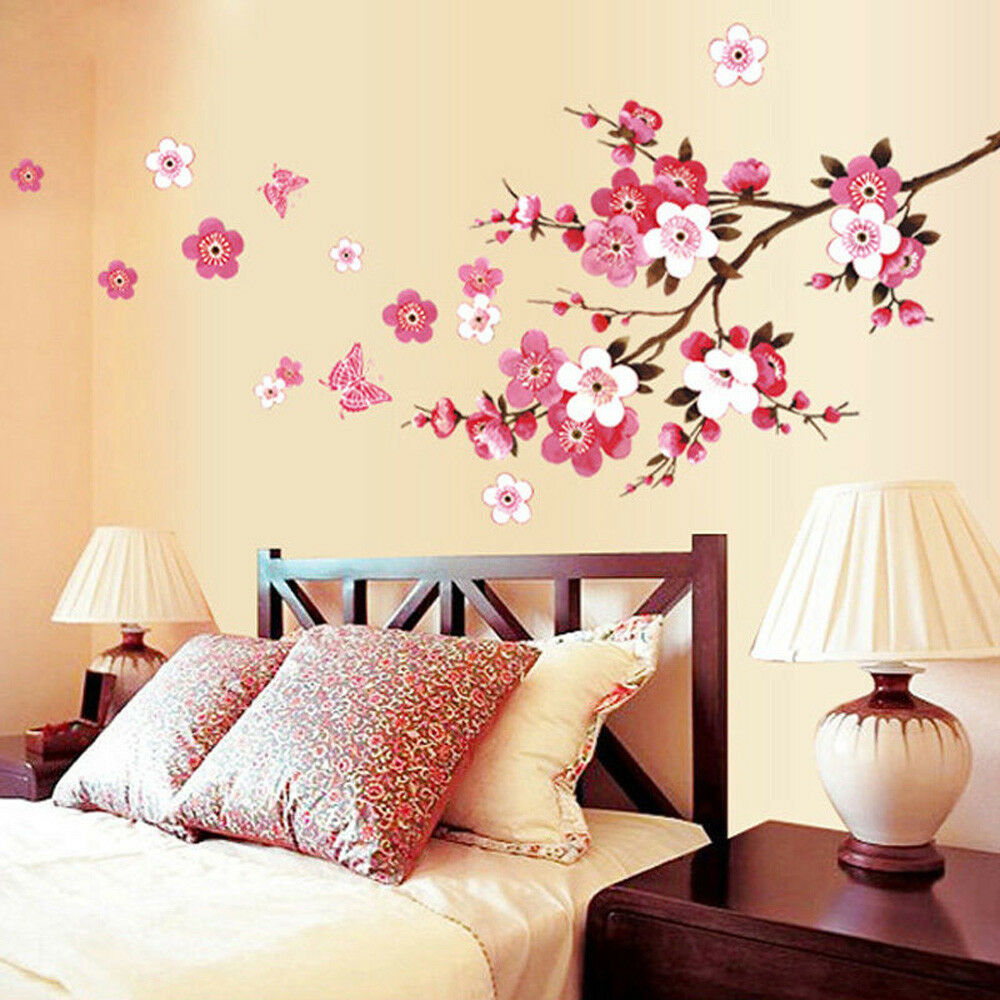 Home Decoration - 3D Room Peach Blossom Flower Butterfly Wall Stickers Vinyl Art Home Decor Mural