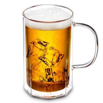 ZENS Double Wall Glass Beer Mug with Handle, 18.5 oz/ 550ml Large Coffee Mugs Double Wall Beer Mug