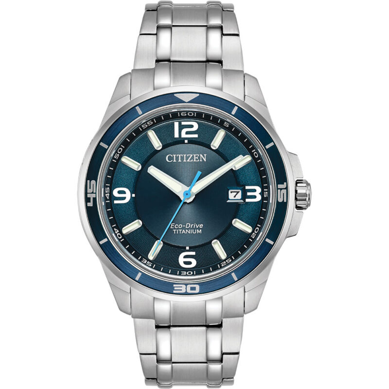 Citizen Mens Ti+IP Stainless Steel Eco-Drive Casual Titanium Watch - Silver
