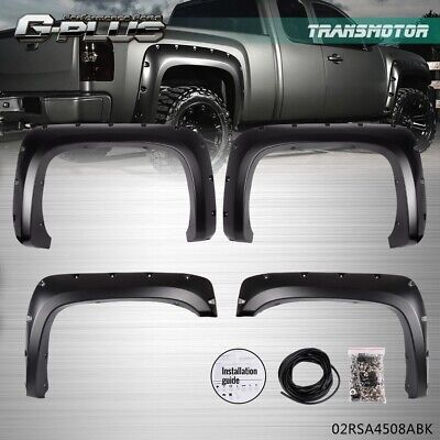 For 07-13 Chevy Silverado 1500 2500HD/3500HD Rivet Fender Flares Pocket Style