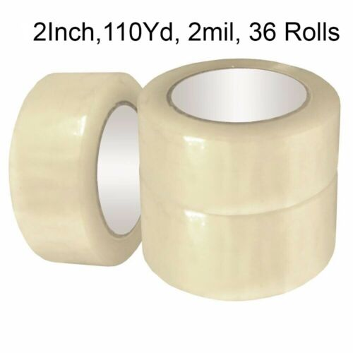 "36 Roll Clear Carton Sealing Packing Shipping Tape 2"" 2.0MIL 110yard 330ft"