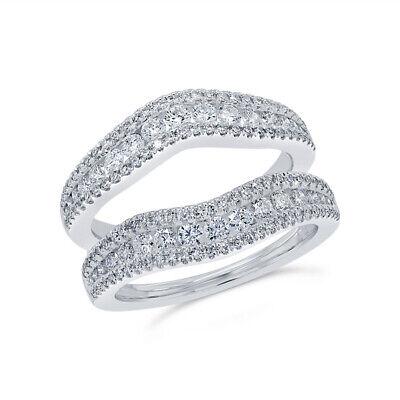 Diamante Anillo Protector 14K Oro Blanco Boda Banda Para Compromiso 3.0MM 1.08ct