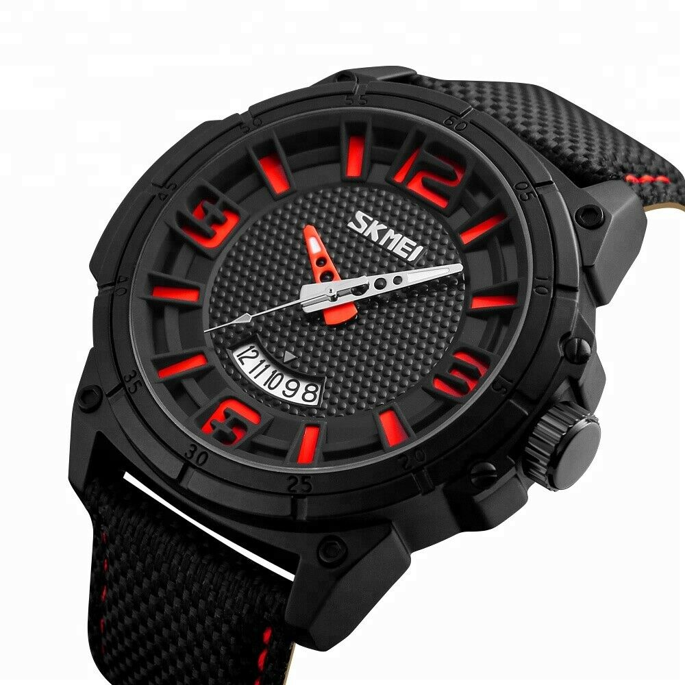 SKMEI Mens Wrist Watch Leather Band Date Japan SEIKO Mvmt Quartz 50mm BIG FACE