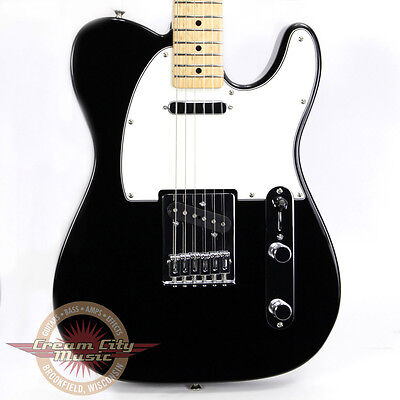 Brand New Fender Standard Telecaster Solid Body Electric Guitar Black Tele Demo