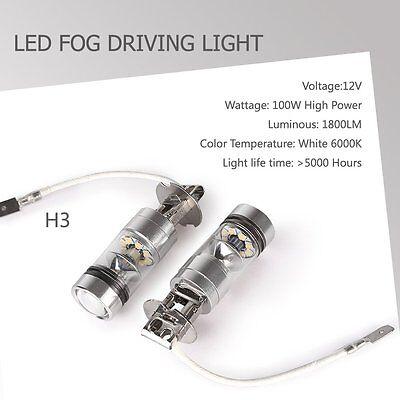2PCS H3 100W Super Bright LED White Fog Tail DRL Car Light kit 6000K Cool White