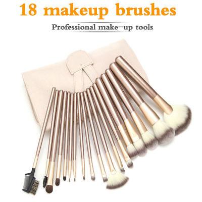 Pro 18 Pcs Makeup Brushes Cosmetic Tool Kit Eyeshadow Brush Case Bag Set