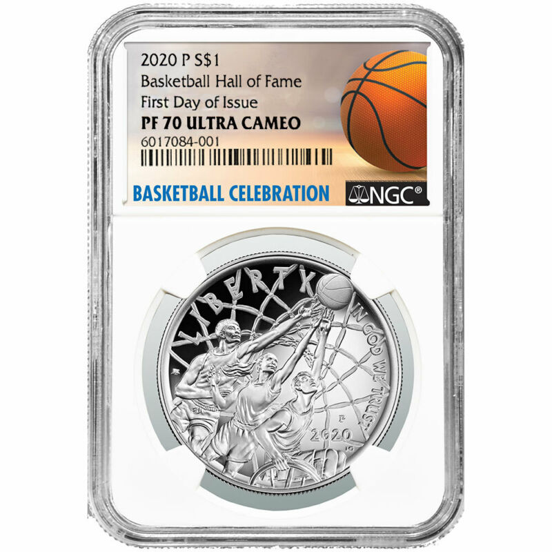 2020-P Proof $1 Basketball Hall of Fame Silver NGC PF70UC FDI Basketball Label