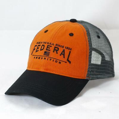 8393949a35ba8 FEDERAL AMMUNITION  ORANGE BLACK   GREY MESH  LOGO HAT CAP  NEW  FD02