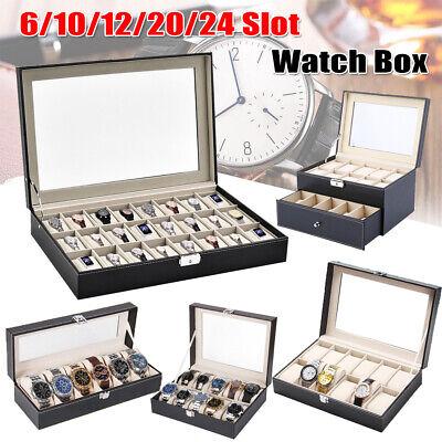 6-24 Slot Watch Box PU Leather Display Case Holder Organizer  Jewelry Storage