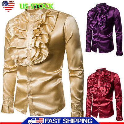 Mens Silk Satin Ruffle Shirt Tops Long Sleeve Costume Gothic Steampunk Retro Tee](Ruffle Shirt Mens)