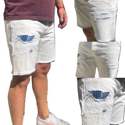 "Polo Ralph Lauren Denim Distressed Sullivan Slim 7 1/2"" Shorts Patch White"