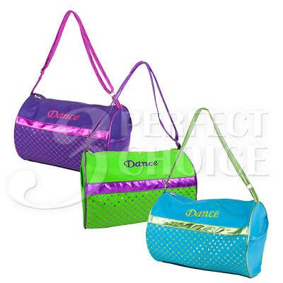 Kids Girls Gymnastics Cheer Sport Nylon Dance Duffle Bag Metallic Color Option (Gymnastic Bag)