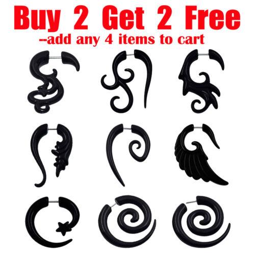 2pcs Tribal Spiral Fake Ear Tapers Plug 16G Fake Gauges Horn