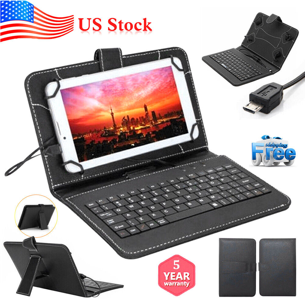 PU Leather Stand Case with Micro USB+Keyboard for 10.1 Inch