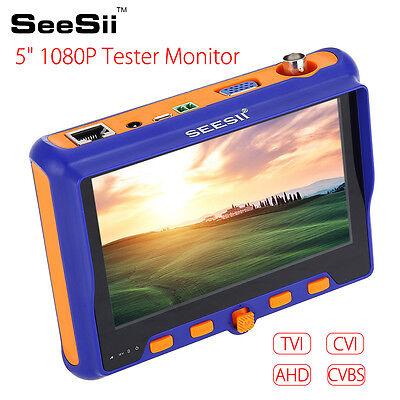 5 Lcd Hd 1080p Screen Tvi Cvi Ahd Vga Cvbs Cctv Camera Tester Test Tool 12v