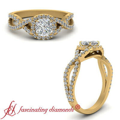 1 Carat Cushion Cut Diamond Infinity Twist Halo Engagement Ring In Yellow Gold