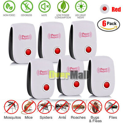 6 X 2019 ELECTRONIC ULTRASONIC PEST REPELLER CONTROL RAT COCKROACH ANT FLY FLEA