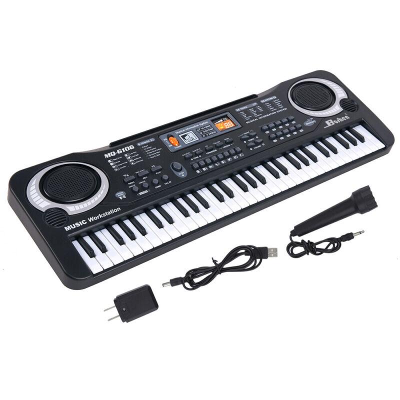 61 Key Digital Piano Electronic Keyboard Portable Music Instrument w/ Microphone