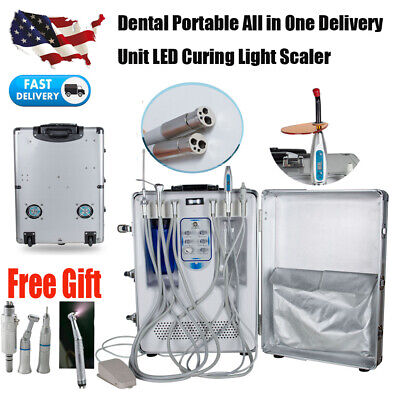 Portable Dental Delivery Unit Mobile Rolling Casesuctioncuring Lightscaler 4h