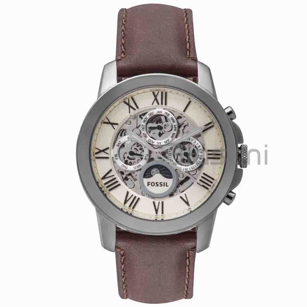 Fossil Original ME3027 Men\s Grant Automatic Brown Leather Watch 44mm