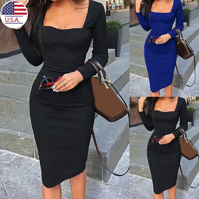 Womens Ladies Sexy Bodycon Slim Fit Long Sleeve Midi Dress Formal Evening Party