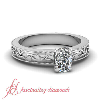 Solitaire Twig Design Engagement Ring 1/2 Carat Cushion Cut VS1 Diamond 14K GIA