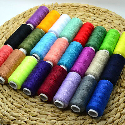 UK 24 Colour 100% Cotton Reel Spools Quality Sewing Yarn Pure All Purpose Thread