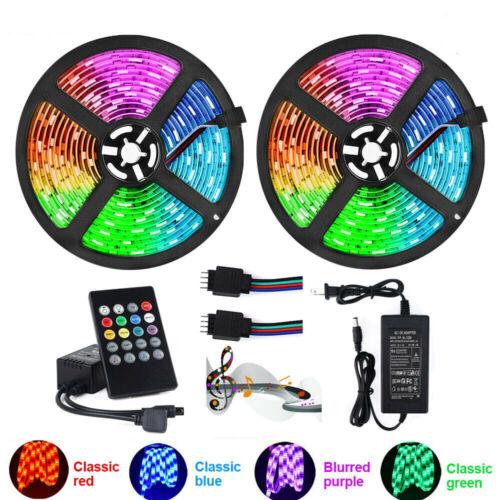 32.8FT 20Key RGB LED Strip Lights Music Sync Color Changing