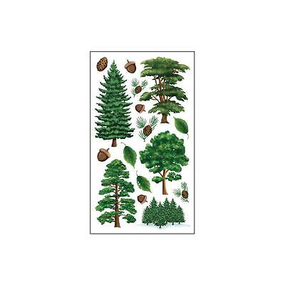 Scrapbooking Stickers Crafts Sticko Majestic Trees Acorns Pine Green Leaves