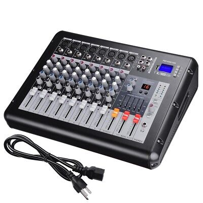 8 Channel Professional USB Power Mixer Amplifier Amp 16DSP LCD Recording Studio ()