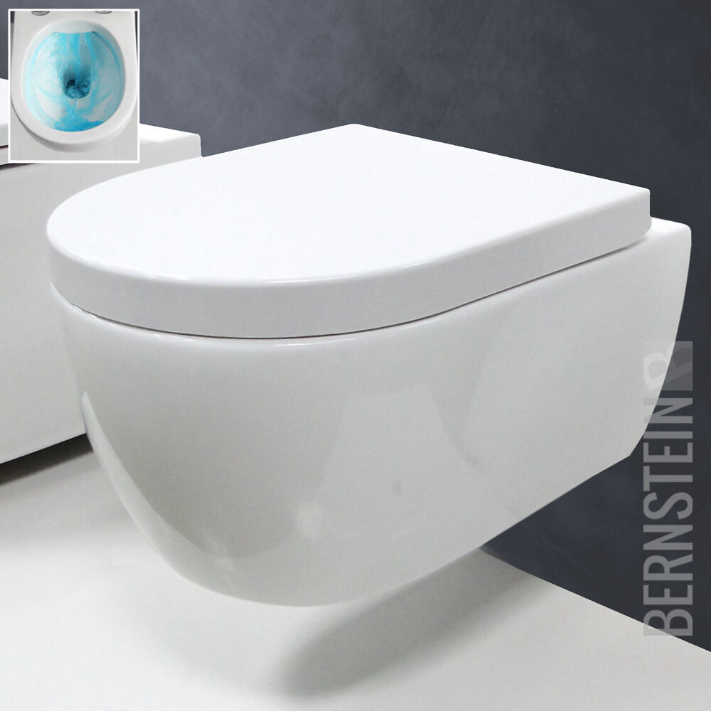 Hänge WC Spülrandlos Bidet Toilette mit Softclose Sitz Deckel Tiefspüler