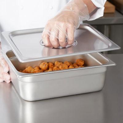 4 Pack W Lid Half Size Food Pan Stainless Steel 4 Deep Steam Prep Table 12