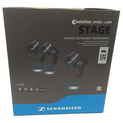 Sennheiser E604P Three Pack Drum Microphone Kit E604 3-Pack w/ Clips & Pouches