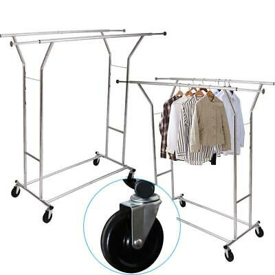 Clothing Rolling Double Garment Rack Coat Hanger Organizer Scalable High Quality