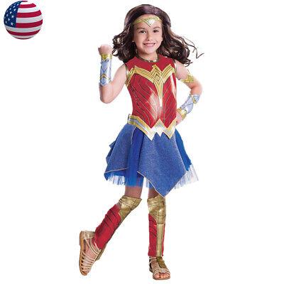 Girl's Wonder Woman Costume Justice League Superhero Supergirl Child Fancy