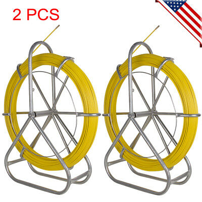 2pcs Fish Tape Fiberglass Wire Cable Running Rod Duct Rodder Puller Usa Ship