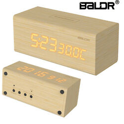 Baldr B0160 Wooden Alarm Clock LED Display Desk Wood Temperature Calendar Snooze