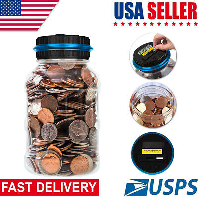 Digital Piggy Bank Coin Saving Counter LCD Counting Money Jar Change Save Dollar