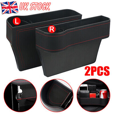2 Pcs Car Seat Gap Catcher Filler Storage Box Bottles Pocket Organizer Holder UK