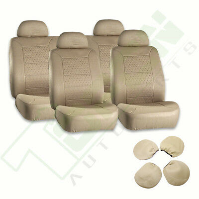 Beige Embossed Cloth Dustproof Car Auto Seat Covers For Jaguar Acura Audi