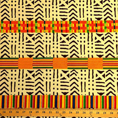 Kente African Print Fabric 100% Cotton 44'' wide sold by the yard (19009-2)