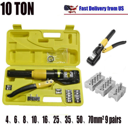 10 Ton Hydraulic Wire Battery Cable Lug Terminal Crimper Crimping Tool w/ Case