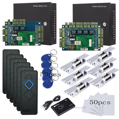 Network 6 Doors Access Control System Kit Strike Fail Secure No Lock Rfid Reader