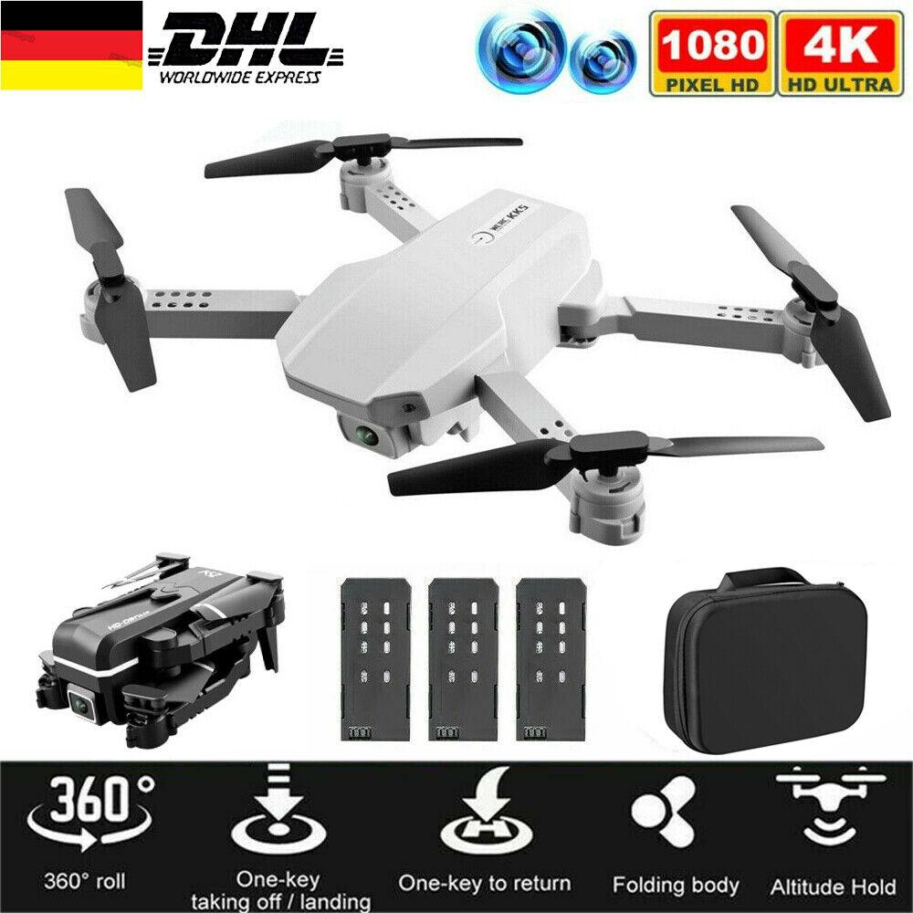 Faltbar WIFI FPV Drohne mit 4K HD Kamera Selfie Quadrocopter RC Drone +3 Akkus